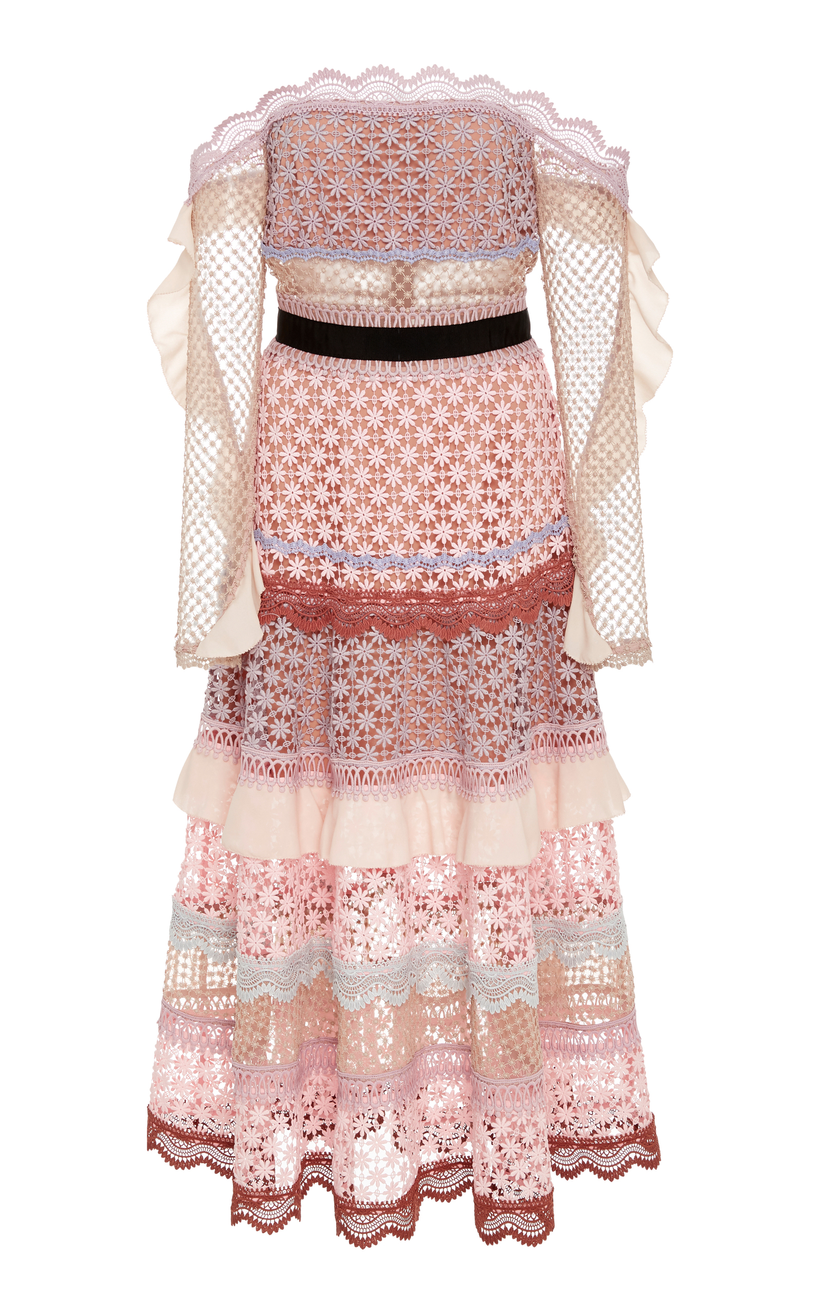 3de2bcb4bfc3 Bellis Off-The-Shoulder Lace Trim Dress by Self Portrait | Moda Operandi