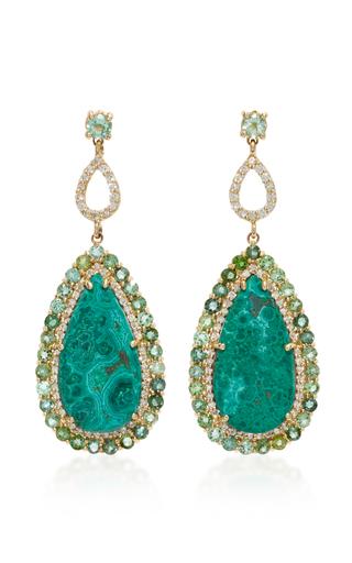 Medium eden presley green 14k gold malachite azurite and diamond earrings