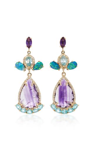 Medium eden presley multi 14k gold multi stone earring