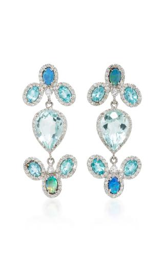 Medium eden presley blue 14k white gold blue zircon and boulder opal earrings