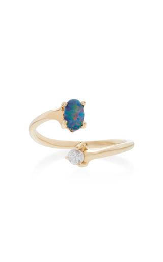 EDEN PRESLEY | Eden Presley 14K Gold Boulder Opal and Diamond Ring | Goxip