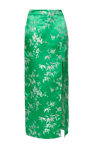 Medium attico green elia jacquard skirt