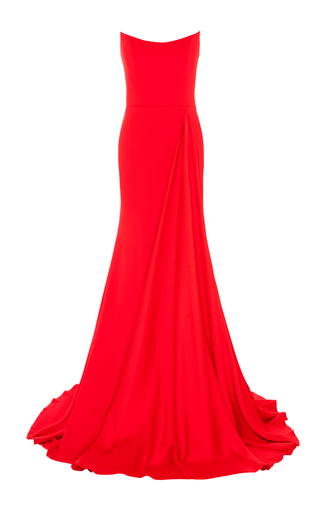 Medium alex perry red alex strapless drape gown