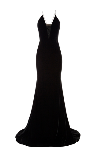 Medium alex perry black maddox velvet sheer bikini gown