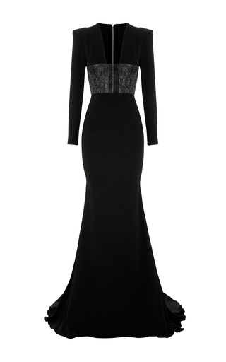 Medium alex perry black easton lurex long sleeve gown