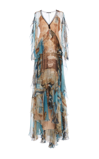 Medium alberta ferretti print tiered ruffle chiffon gown