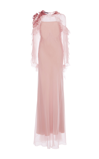 Medium alberta ferretti pink ruffled one shoulder gown