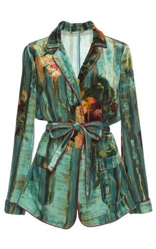 Medium alberta ferretti green floral velvet blouse