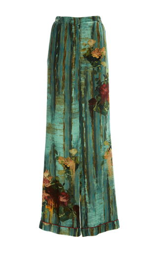 Medium alberta ferretti green velvet wide leg trouser