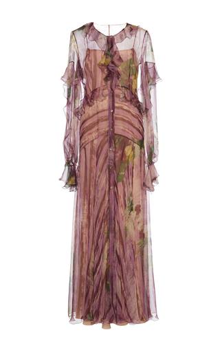 Medium alberta ferretti purple button up ruffle dress