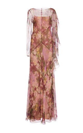 Medium alberta ferretti pink bateau neck cape gown