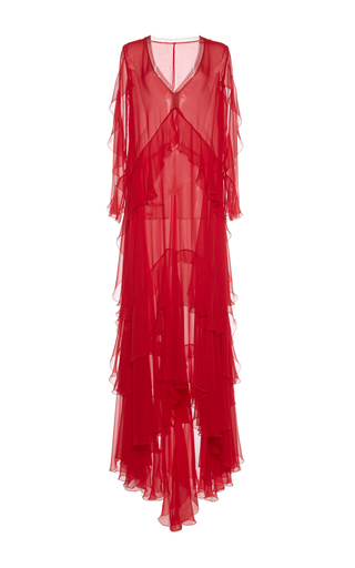 Medium alberta ferretti red cascading ruffle gown