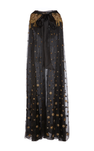 Medium alberta ferretti black organdies embroidered cape