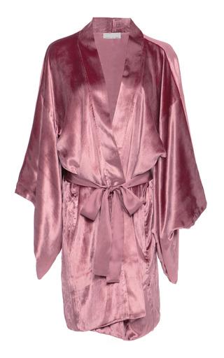 Medium fleur du mal pink silk trimmed velvet robe