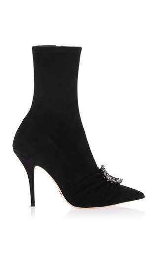 Medium oscar tiye black eva stretch suede boot
