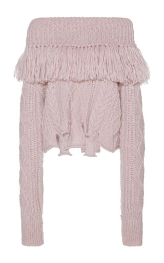 Medium philosophy di lorenzo serafini pink off the shoulder fringe knit