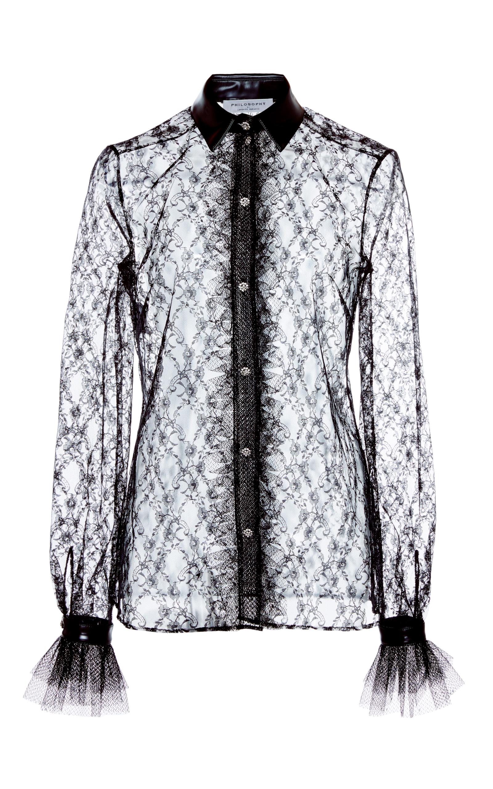 Lace Sheer Button Up Blouse By Philosophy Di Lorenzo Moda Operandi