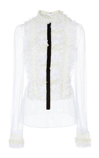 Medium philosophy di lorenzo serafini white plumetis lace ruffle blouse