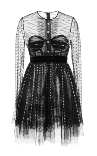 Medium philosophy di lorenzo serafini black plumetis lace dress