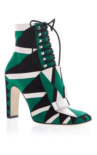 Medium sergio rossi green lace up graphic boot