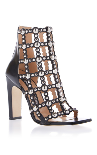 Medium sergio rossi black cage studded sandal