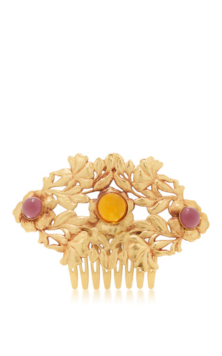 Medium rodarte gold gold floral hair comb with amber glass cabochons