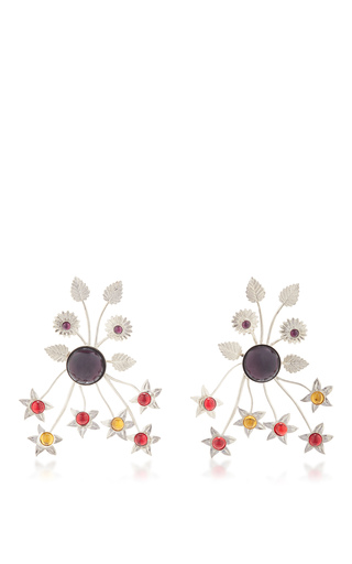 Medium rodarte multi nickel floral burst earrings with ruby glass cabochons