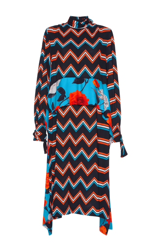 Medium msgm black mixed chevron mock neck dress