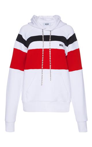 Medium msgm white striped logo hoodie