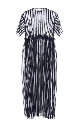 Medium msgm blue lurex striped tulle dress