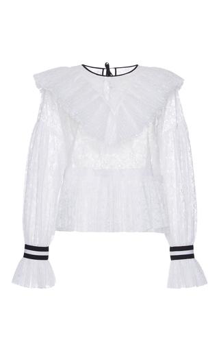 Medium msgm white ruffled lace blouse