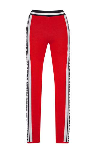 Medium msgm red knit logo jacquard leggings