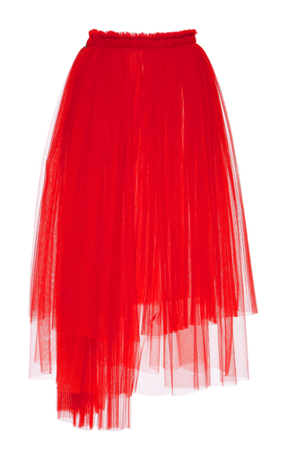 Medium msgm red pleated tulle skirt
