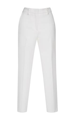 Medium msgm white straight leg crepe trousers