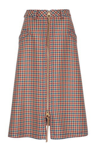 Medium agnona red checkered midi skirt
