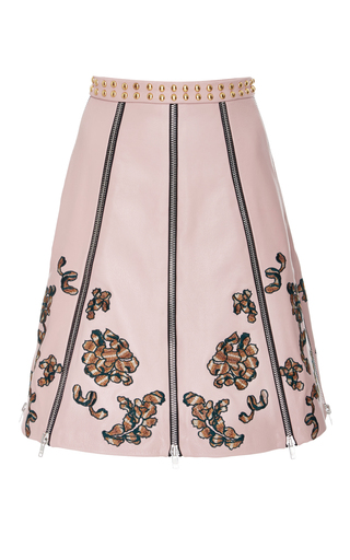 Medium rodarte pink embroidered leather paneled skirt