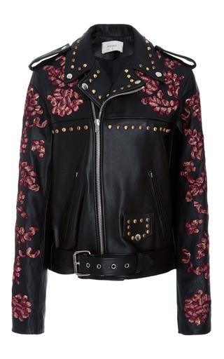 Medium rodarte black lace embroidered leather jacket