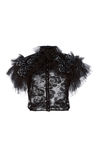 Medium rodarte black ruffled metallic tulle blouse