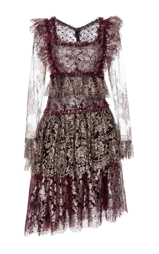 Medium rodarte burgundy tiered lace long sleeve dress