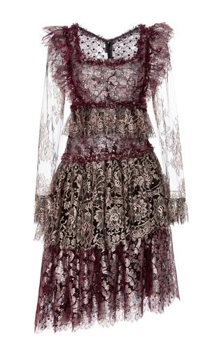 Medium rodarte burgundy tiered lace long sleeve dress
