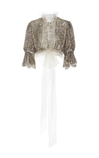 Medium rodarte metallic sequin embellished cropped blouse