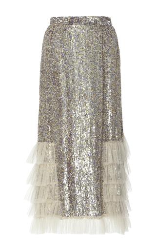 Medium rodarte metallic sequin embellished ruffled skirt