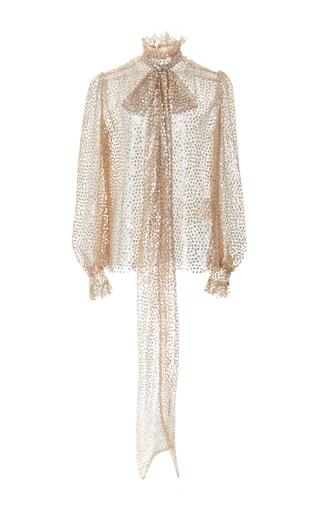 Medium rodarte metallic sequin embellished scarf neck blouse