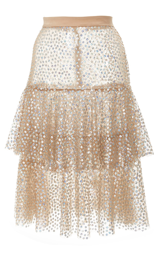 Medium rodarte metallic sequin embellished tiered skirt