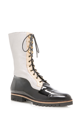 Medium rodarte black patent combat boot