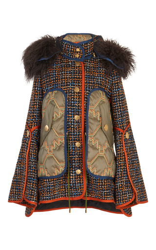 Medium peter pilotto plaid tweed shearling jacket