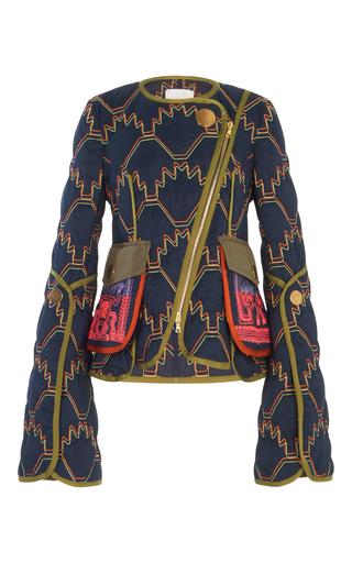 Medium peter pilotto navy quilted short jacket