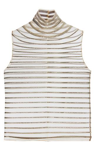Medium genny stripe sleeveless turtleneck top