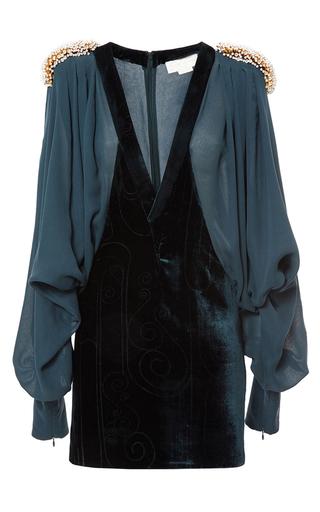 Medium genny blue embellished puff sleeve dress
