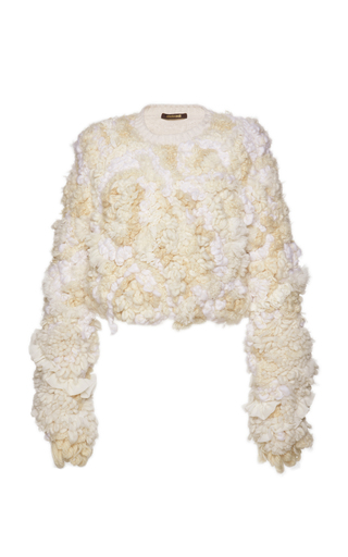 Medium roberto cavalli white cropped fur jacket